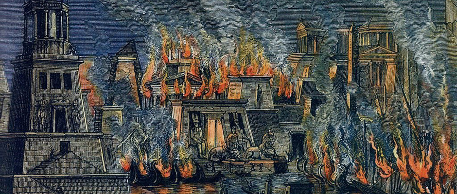 Пожар в Александрии, гравюра. Герман Гёлль, 1876
