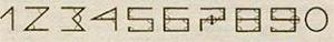 Десятичная система как обобщение вавилонского принципа (цифра как стилизованное сокращённое представление нужного количества «уголков» - обратите внимание на перекладину в числе 7, которая даёт сразу 4 дополнительных уголка)