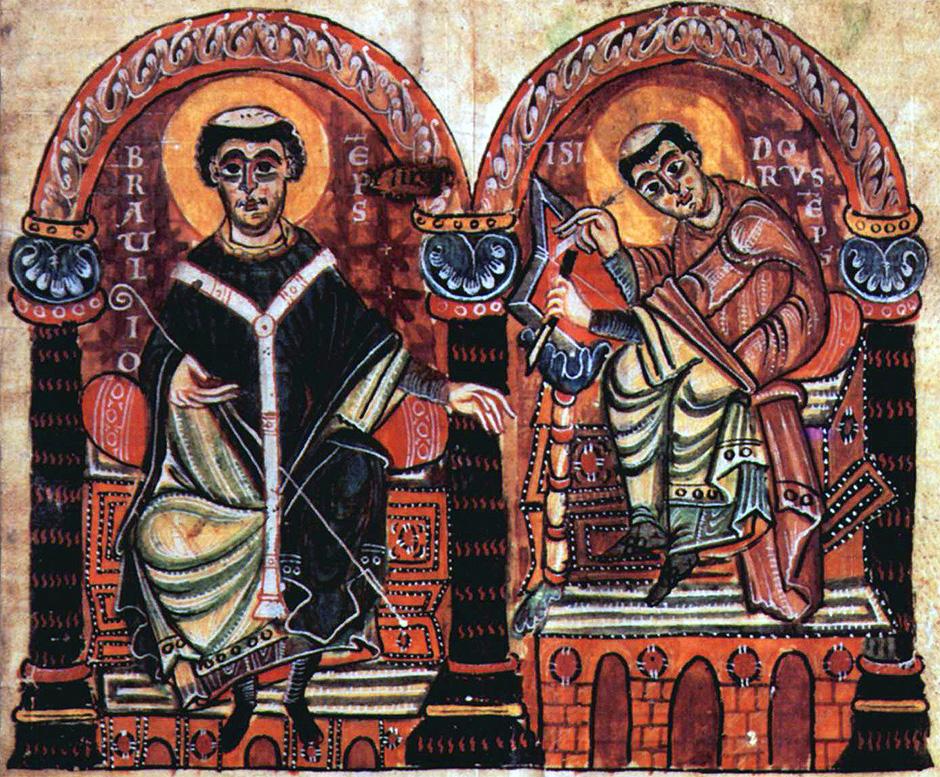 На иллюстрации приведено изображение Епископа Браулио Сарагосского и Исидора Севильского из Манускрипта X века